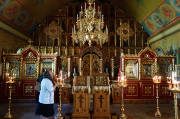 Inside one of the many worship areas in Pechory Monastery. It is, by the way, still a totally functioning monastery.
