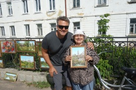 We bought a painting off of a charming old lady in Torzhok. She even showed us the view that the painting was of, in real life.