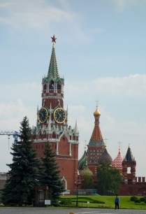 A view of St Basil's Cathedral, and a guard tower of the Kremlin, from inside the Kremlin.