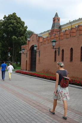Leaving the Kremlin, on the way to Red Square