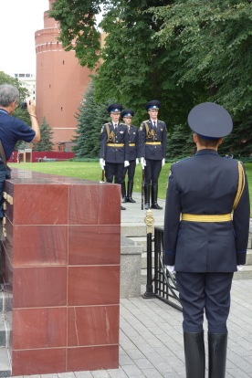 There was a military drill, for show, at noon outside the Kremlin. Look at how put together those guys are.