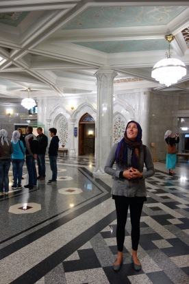 Inside the mosque. So shiny and new!