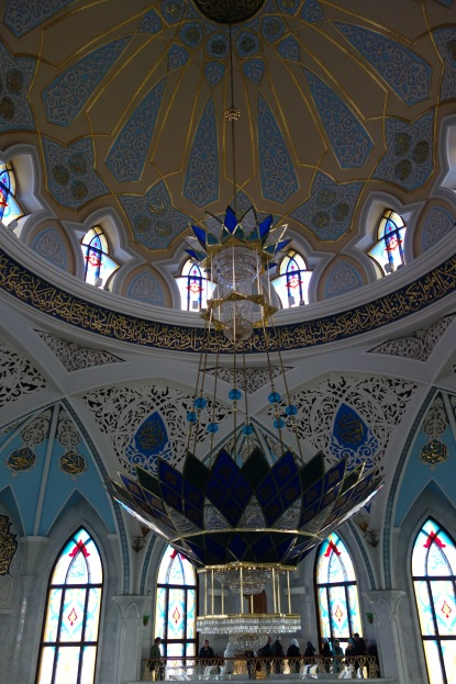 Inside the main prayer room in the mosque. There were two balconies for visitors to see inside - only Muslim men coming to prayer could enter the room below.