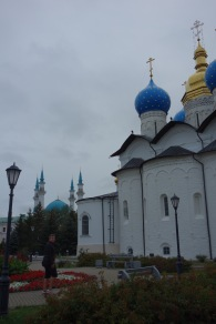 A view of both the church and mosque in the Kazan kremlin.