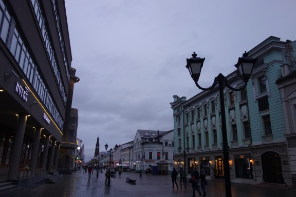 We took a walk through Kazan in the evening, in the rain.