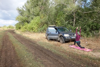 We took a break by the side of the road, very near the border with Kazakhstan.