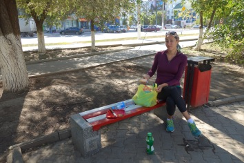 A picnic lunch in Aktobe, before moving on.