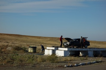 These drive-up ramps pop up every 50 kilometres or so on Kazakh roads, even on unpaved roads. And they almost always have a broken down car on them. We've used one, ourselves.