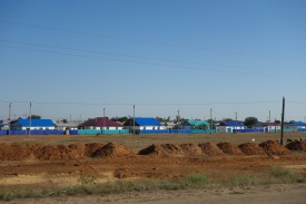 Love the colourful houses. This was mostly just near Aktobe, the further we got from there the more rare they got.