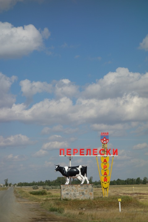 This town chose a neat cow, and some wheat imagery, for their entrance sign.