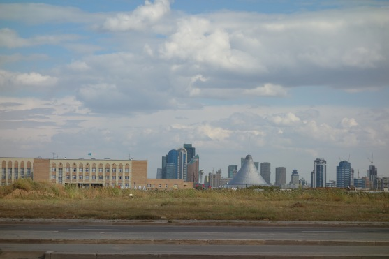 Entering Astana. That's a famous building in there - the Khan Shatyr. Looks like a pimple leaning over. It was designed by Norman Foster.