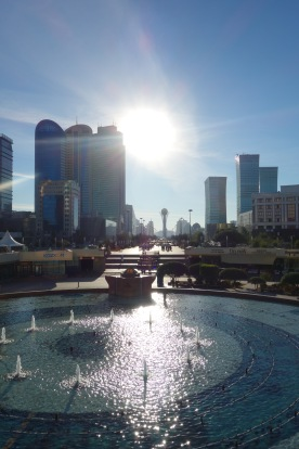 That's the Bayterek in the middle there - the short beautiful monument building, the symbol of Astana.