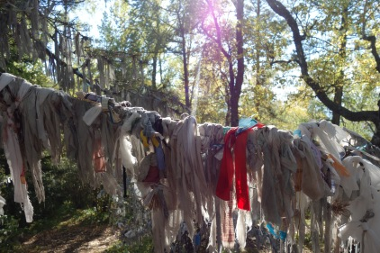 A Kazakh girl I met on the trail explained that these are prayers.