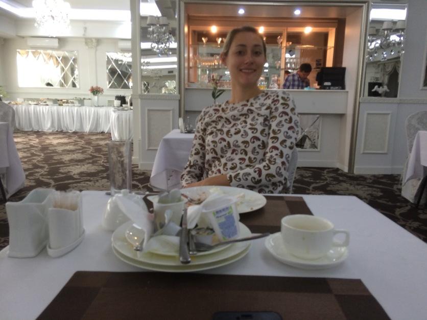 A fancy breakfast at our fancy hotel.