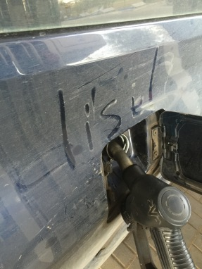 Andrei wrote this on our car. Just a reminder.
