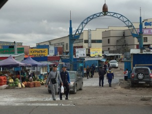 We've now left the comforts of Akmole and have to drive partially through Astana again to get up to Russia. We passed this market.