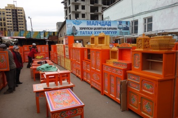 Traditional furniture the black market. Orange for the sun.
