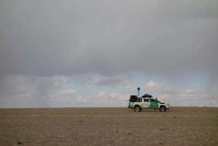 Recording street view for an enormous patch of dirt that people drive across however they choose. Tracks aren't even necessary in much of the Gobi, most of it is flat enough to be a road.