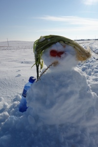 Jo made a snowman, smokin and drinkin like a real Mongolian. See below for the beautiful Gobi snow pictures.