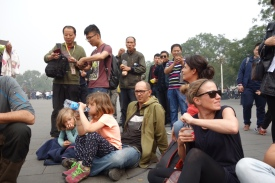 Getting mobbed by admirers/zoo-goers at Tiananmen Square