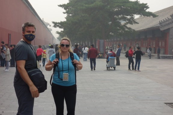 Luke and Jo looking pleased as punch at the Forbidden City