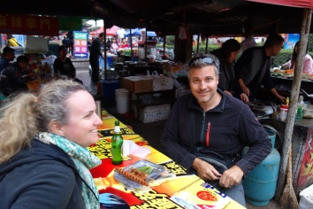Luke and Jo enjoy some street food
