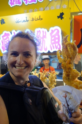Jo and Luke were in heaven with soft shell crab on a stick. Notice the Arabic behind - there's a sizeable group of Muslim Chinese people in Xi'an.