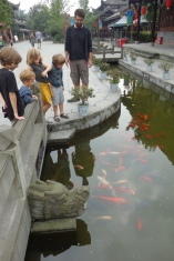 The kids like the koi