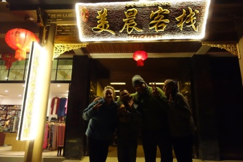 As did the owner of our hotel, whom we shouted dinner, and who got very, very drunk. Here he is with us in front of his hotel.