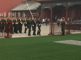 A creepy military exhibition outside of the Forbidden City.