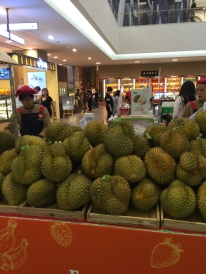 Jens took a few of us on a grocery shopping expedition to the mall, but none of us could afford anything. These durian smelled good, but would have broken the bank.