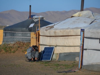 Most gers have solar panels or even generators, so they can run satellite TVs or charge their phones.