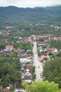 View of the Nam Khan river side of town from Mount Phousi.