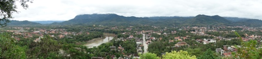 Lovely Luang Prabang. We stayed in between that big road and that big river.