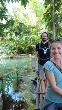 We hiked up to the very top tier of the many waterfalls. Here's Jenny and Arne.