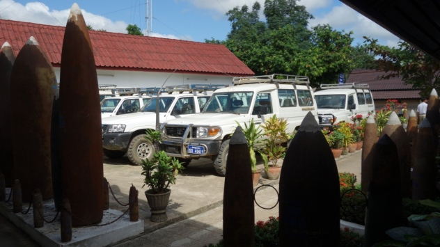 The SUVs used by the workers of the UXO centre - in these vehicles, they roam the country, defusing bombs