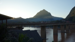 The view from our guesthouse balcony in Nong Khiaw