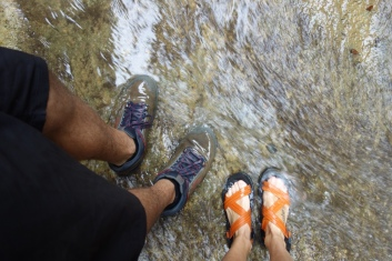 We walked through the water. It felt very nice on our feet and we didn't even get leeches.