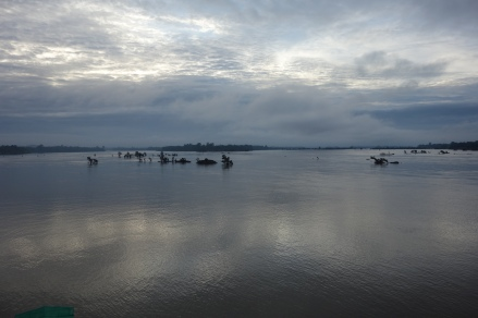 We didn't take pictures of the dolphins because it would have looked boring. But here's the morning Mekong!