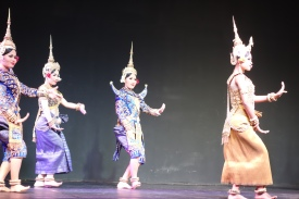 Khmer dancers at the Apsara dance show. These are dressed as various Gods and Goddesses
