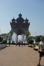 """Ok, so this is hilarious. It's called the Victory Gate and it's supposed to be like the Cambodian Arc de Triumph. But, the OFFICIAL PLACARD inside literally reads, among other things, """"From a distance, it appears even less impressive, a monster of concrete."""" I mean, you have to give them points for honesty."""