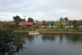 The bungalows across from ours. That water is a fish farm, actually. Lots of jumping and flopping.