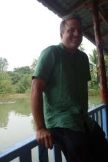 Luke enjoying our fish farm lunch location.