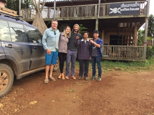 With Jackie, Wok, and Tyson - the Jhai owners - in front of the coffee shop/house where we stayed