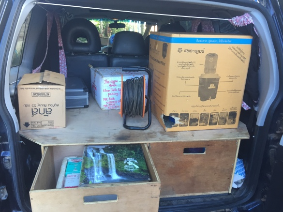But Tyson sent us photos of her in use! Here she is, all packed up and ready to go out for a hygiene program at a school.
