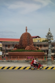 There is an enormous tribute to the durian fruit in Kampot. Tastes like heaven, smells like hell, my Dad taught me. They actually explicitly ban the consumption of durian fruits on busses due to their stench.