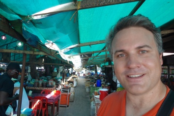 At the famous Kep Crab Market. They catch crabs, and then sell them, and cook them fresh for you if you want.