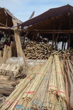 Bamboo ready to be used in floating houses