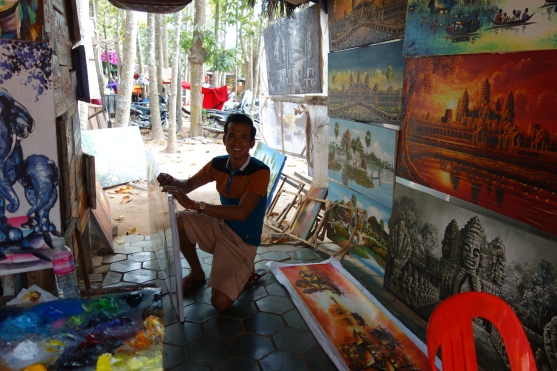 We bought some paintings from this fellow. Too many, actually. So much for travelling light while backpacking.