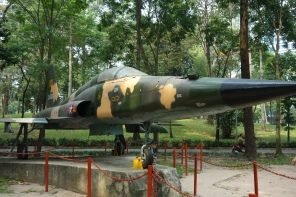 And here's a replica of a fighter jet that was used by two rebelling South Vietnamese used to bomb their own leader's palace, in 1962. A huge amount of the palace was destroyed, so Diem had the whole thing rebuilt
